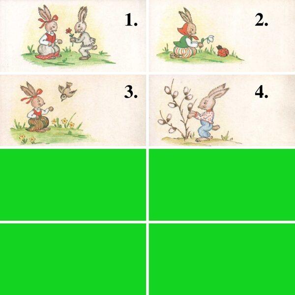 1984 mini greeting card 11,5x5,5 cm K. Birze Easter bunny