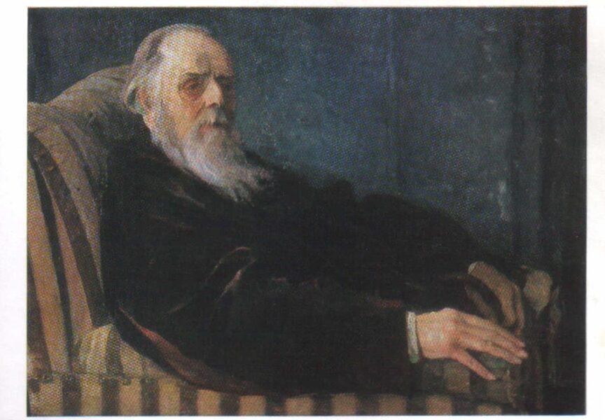 Mikhail Nesterov Postcard from 1988. Portrait of V.G. Chertkov. 15x10.5 cm