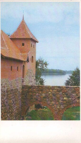 Lietuva. Traķi. 1981. gada pastkarte. Pils fragments uz salas. 9,5x16,5 cm