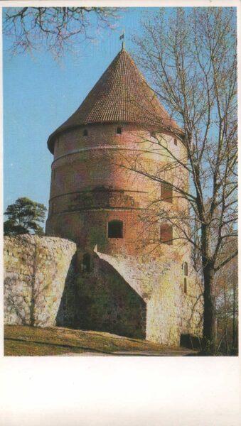 Lietuva. Traķi. 1981. gada pastkarte. Aizsardzības tornis uz salas. 9,5x16,5 cm