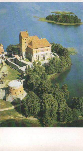 Lietuva. Traķi. 1981. gada pastkarte. Pils skats no putna lidojuma. 9,5x16,5 cm