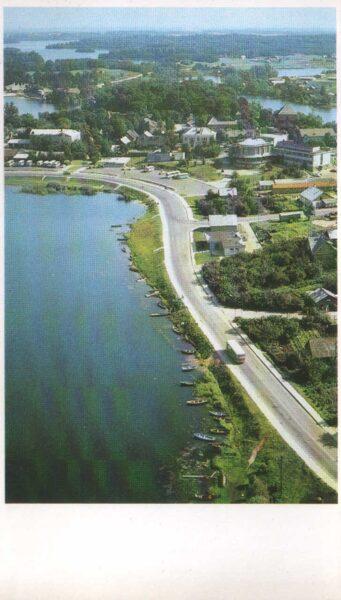 Lietuva. Traķi. 1981. gada pastkarte. Traķi ezeru ielenkumā. 9,5x16,5 cm