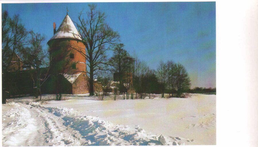 Lietuva. Traķi. 1981. gada pastkarte. Salas aizsardzības tornis uz salas. 16,5x9,5 cm