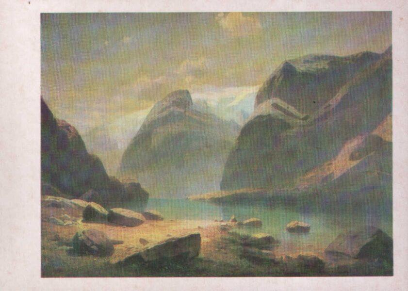 """Aleksejs Savrasovs 1986/1985. gada pastkarte """"Ezers Šveices kalnos."""" 15x10,5 cm"""