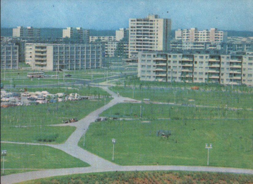 """Lietuva. Kauņa. 1981. gada pastkarte. Dzīvojamais rajons """"Dainava"""". 13,5x10 cm Br. Baltrušaičio"""