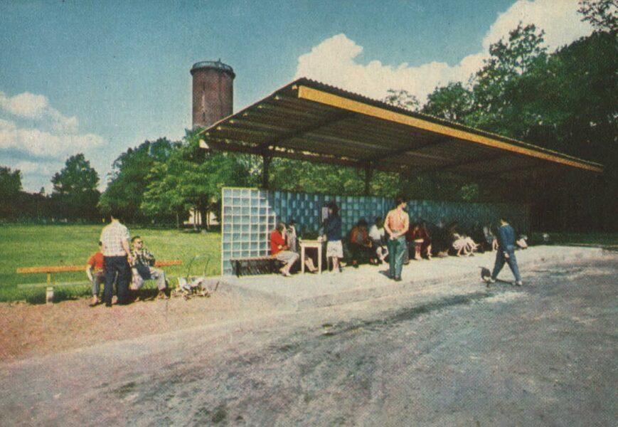 Jūrmala 1965. gads Ķemeri. Autobusa pietura. 14x10 cm.