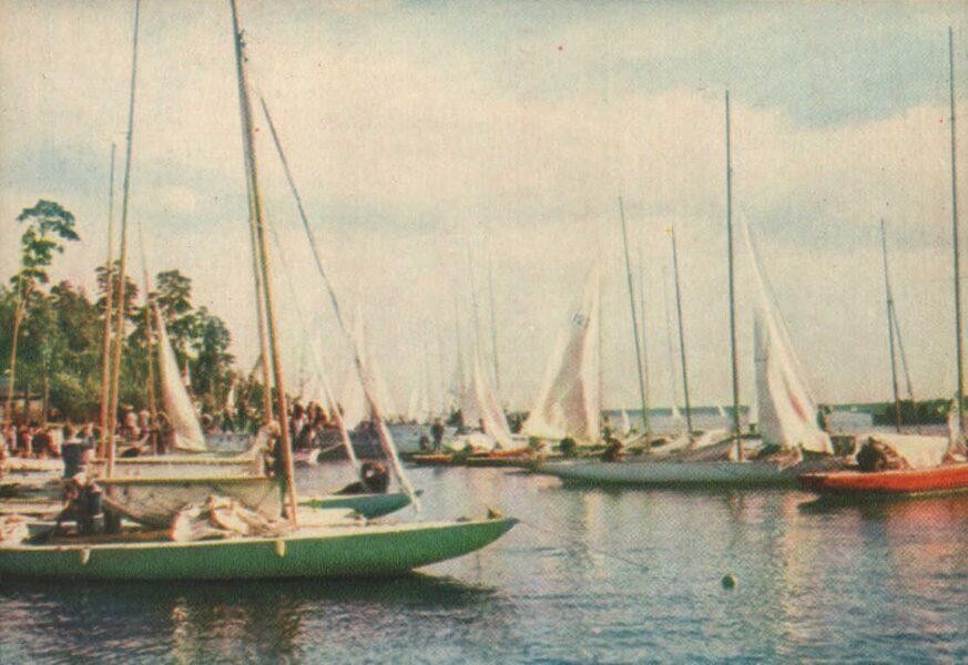 Jūrmala 1965. gads Jahtas Lielupes upē. 14x10 cm.