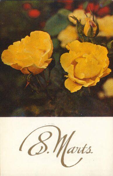 """Apsveikuma pastkarte """"8. marts"""" Dzeltenās rozes 1978. gada """"Liesma"""" 9x14 cm"""
