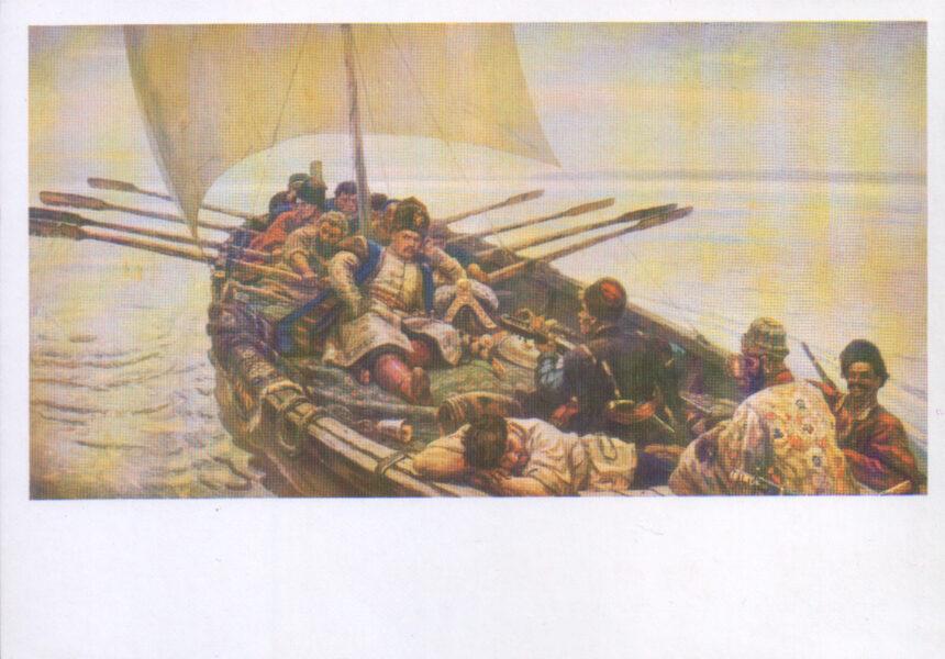 """Vasilijs Surikovs 1988. gads """"Stepans Razins."""" mākslas pastkarte 15x10,5 cm"""