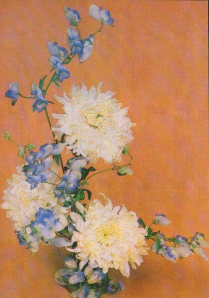 """Apsveikuma pastkarte """"Ziedi"""" Dālijas 1983. gada """"Planeta"""" 10,5x15 cm"""