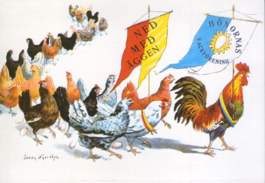 Apsveikuma pastkarte Glad påsk Priecīgas Lieldienas Jenny Nyström zviedru maksliniece-ilustrators 15x10,5 cm