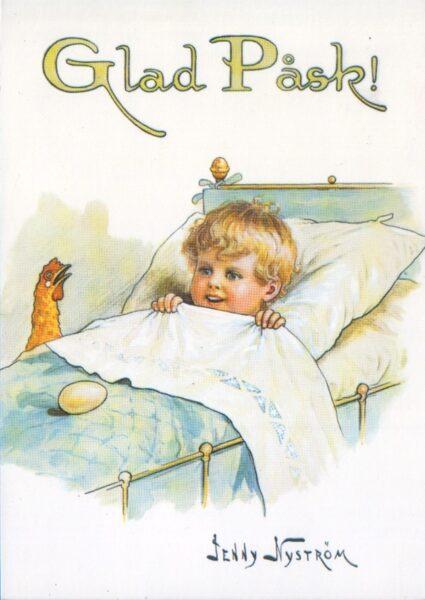 Apsveikuma pastkarte Glad påsk Priecīgas Lieldienas Jenny Nyström zviedru maksliniece-ilustrators 10,5x15 cm